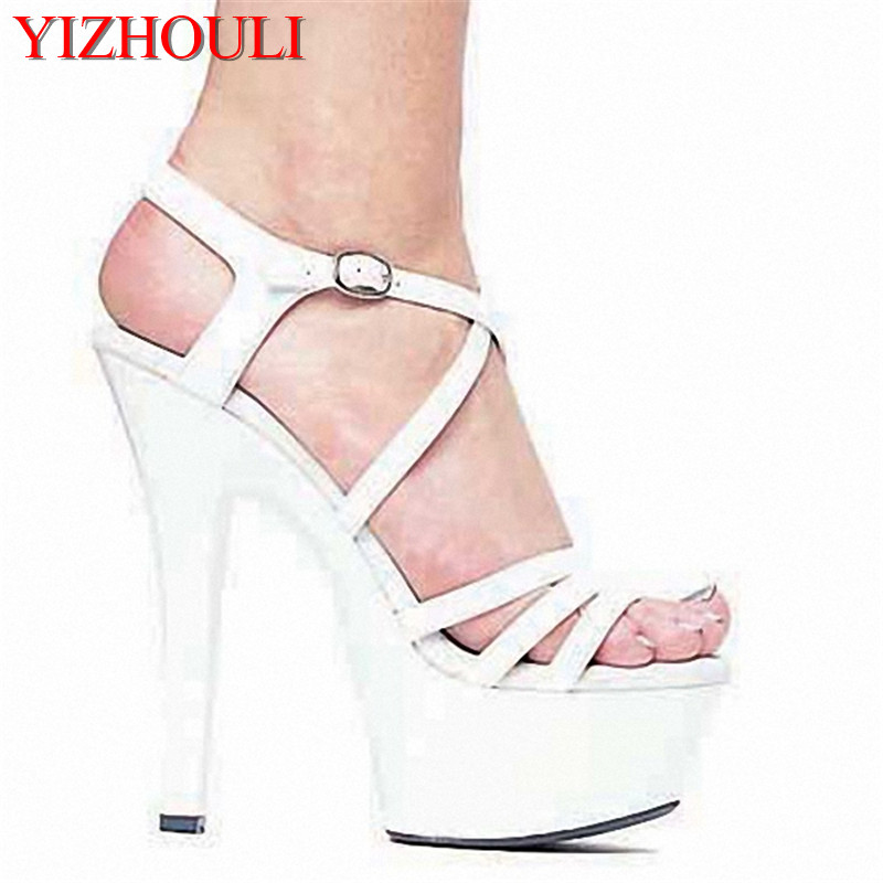 Фотография Ultrafine 15cm High-Heeled Shoes Sandals White Bride Wedding Shoes Platform Steel Pipe Dance Shoes 6 inch Sexy Fashion Shoes