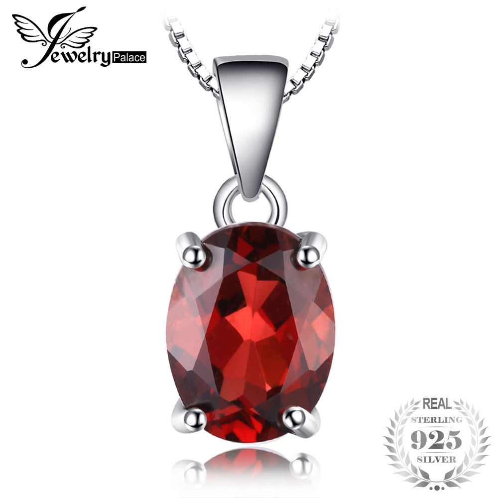 JewelryPalace Oval 2.5ct Natural Red Garnet Birthstone Solitaire Pendant 925 Sterling Silver Not Include a Chain Fine Jewelry