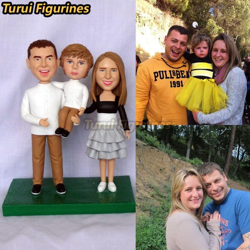 Turui Figurinhas personalizadas Partido DIY Decoração família presente lembranças favor do presente rosto estátua em miniatura do miúdo da criança da foto