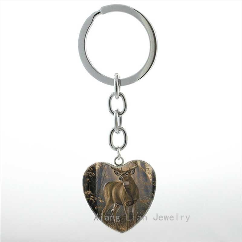 Nova cauda branca do vintage alce veados buck chaveiro animais selvagens e mule deer whitetail veados do anel chave da corrente chave das mulheres jóias HP359