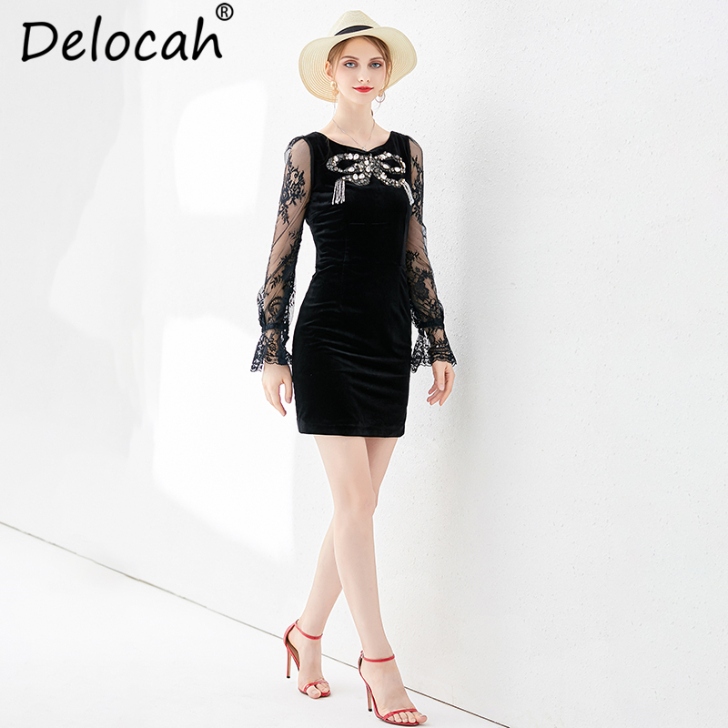 Delocah New Women Spring Summer Mini Dress Runway Fashion Vintage Flare Sleeve lace up Beading Elegant Ladies Black Slim Dresses in Dresses from Women 39 s Clothing
