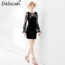 Delocah New Women Spring Summer Mini Dress Runway Fashion Vintage Flare Sleeve lace up Beading Elegant Ladies Black Slim Dresses
