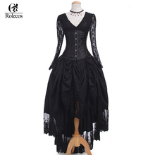 Rolecos 2017 Hot Sale Womens Black Punk Gothic Dresses Vintage Victorian Black Lace Womens Dresses Halloween Party Costumes