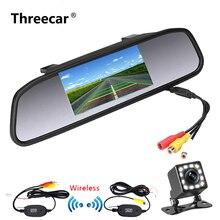 """4.3 """"Auto Retrovisore Monitor Dello Specchio di Videocamera vista posteriore TFT-LCD 2 Video per Auto Veicolo Videocamera vista posteriore impermeabile di Notte del LED di Visione"""