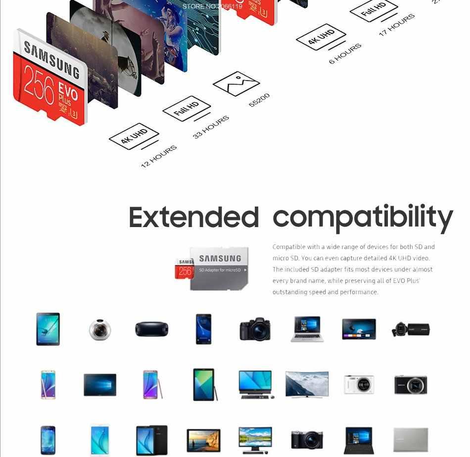 サムスンマイクロ SD カード 64 ギガバイト 128 ギガバイト 32 ギガバイト 256 ギガバイトの microsd メモリカードの C10 U3 4 18K /U1 SDXC カード TF SDHC フラッシュ送料無料