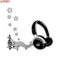 Interesting Headphones Music And Star Silhouette Decor Car Sticker Vinyl