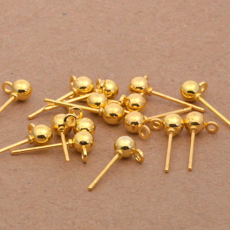 20 pcs נירוסטה זהב/כסף/רודיום כדור Stud עגיל סיכות להקת לולאה אוזן בסיס 3/4 /5mm לעגילים DIY תכשיטי ביצוע