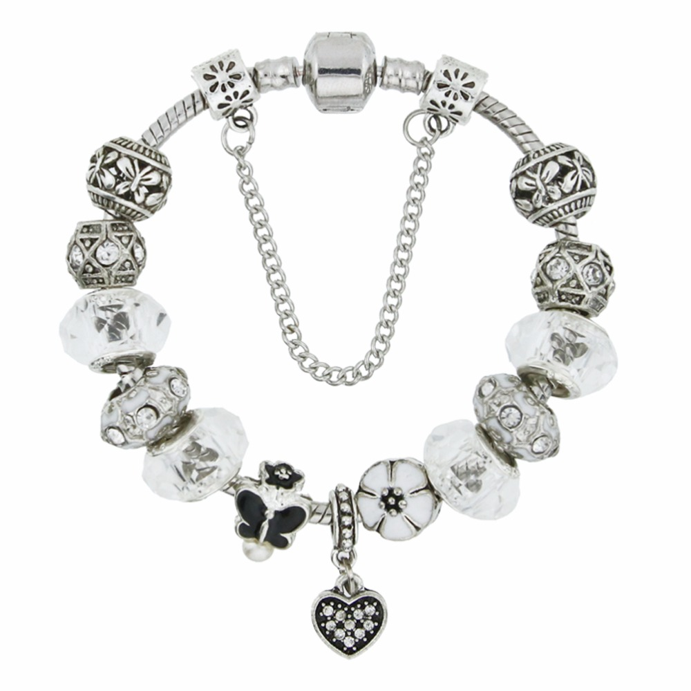 Cheap price Fashiom European style silver plated Charms metal bead Bracelet & Bangle with zircon heart pendant for women KM204