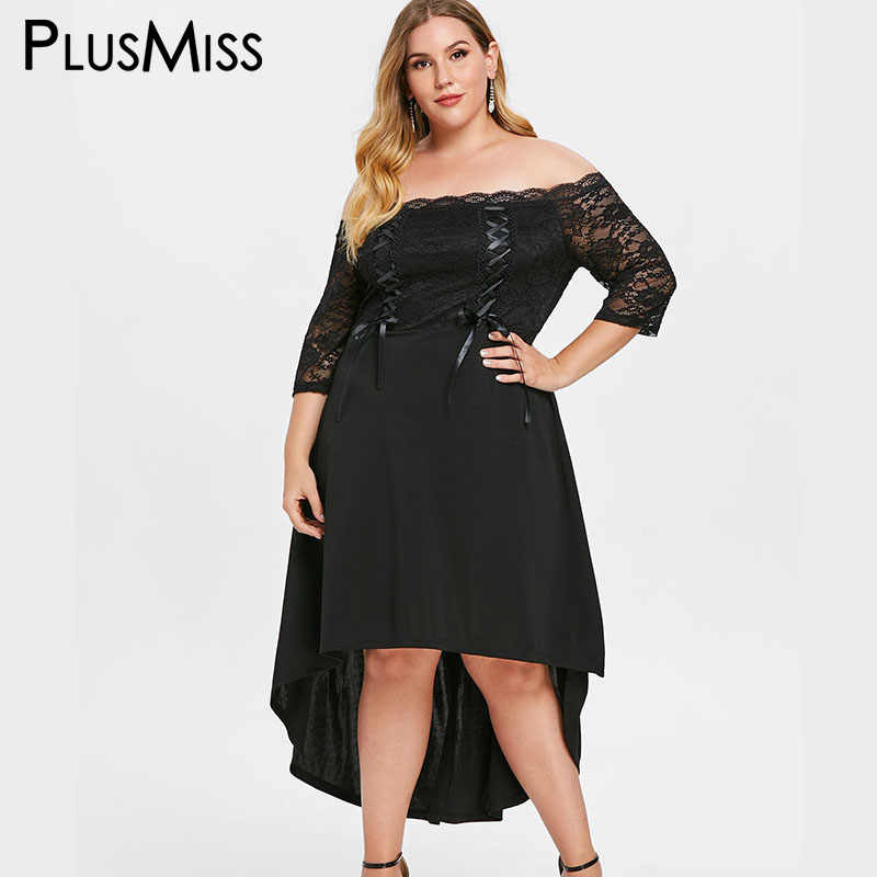 PlusMiss Plus Size 5XL Black Lace Crochet Off Shoulder Midi Dress XXXXL  XXXL Women Big Size ec5b0e20a321
