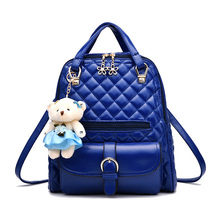 Женщины кожа рюкзак для девочек-подростков решетки алмаза женской моды рюкзаки молния медведь сумка женская школа мешки