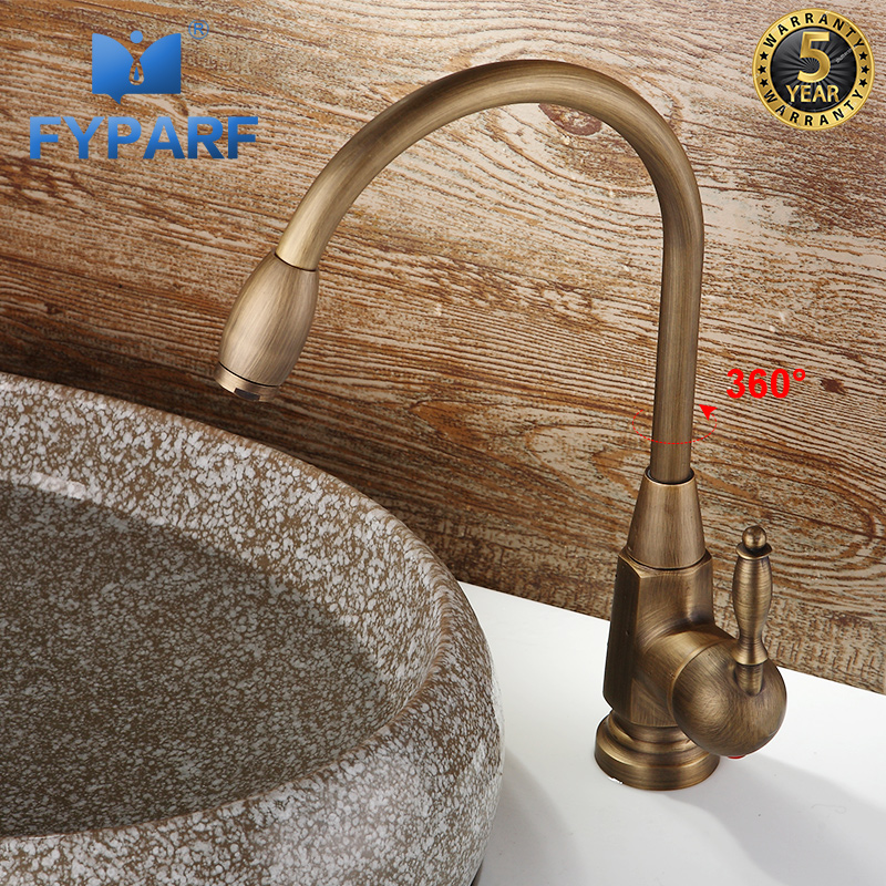 FYPARF salle de bains bassin robinet cuivre robinet mélangeur Vintage chaud et froid Antique lavabo mitigeur évier poignée unique trou grue