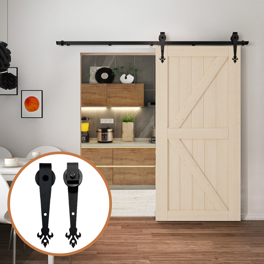 LWZH Barn Door 5FT/6FT/7FT/9FT Black Rustic Carbon Steel Sliding Barn Door Interior Three Leaves Shaped Roller For Single Door