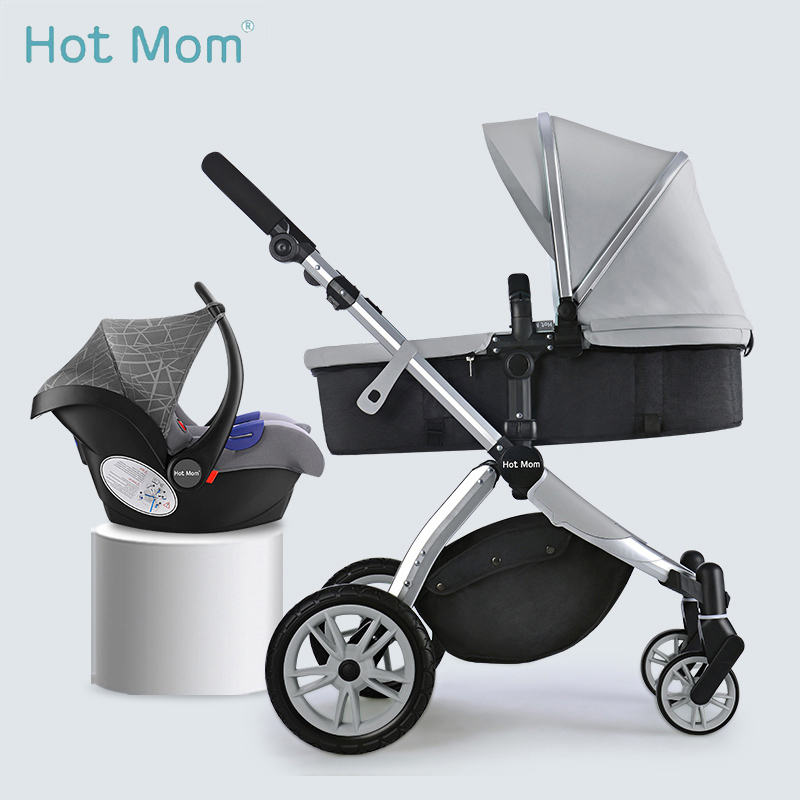 best loved adc34 6f74c Hot Mom stroller High landscape can changed into sleeping basket leather