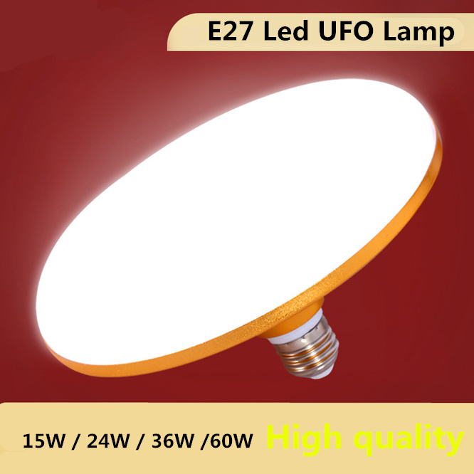 Lamp Beads 5630 E27 Energy Saving Lamp 220V Gold UFO Light Super Bright 15W 24W 36W 60W LED Bulb Aluminum Alloy Body Living Bed