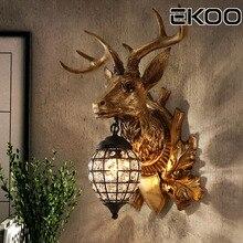 EKOO Deer Antler Wall Lamp Lighting Rustic Home Cafe Bar Vintage European Industrial