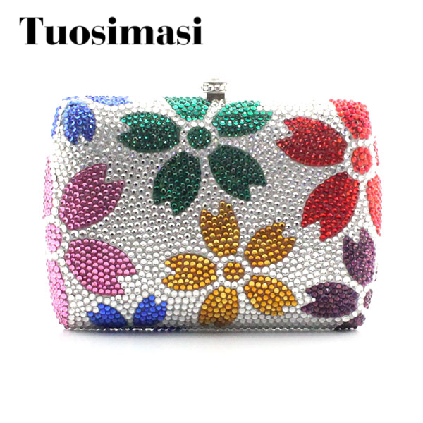 Hot Floral Ladies Clutch Bag Women Evening Party Bag Prom Bridal Wedding Handbags  (B1008-SRG) black and white two color hot selling elegant ladies clutch bag fashion women handbags wedding handbags c696