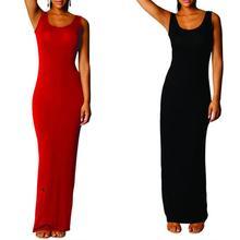 Yfashion Vest Style Solid Dress Women Summer Sexy  Sleeveless Long Dresses Casual Female Vestidos