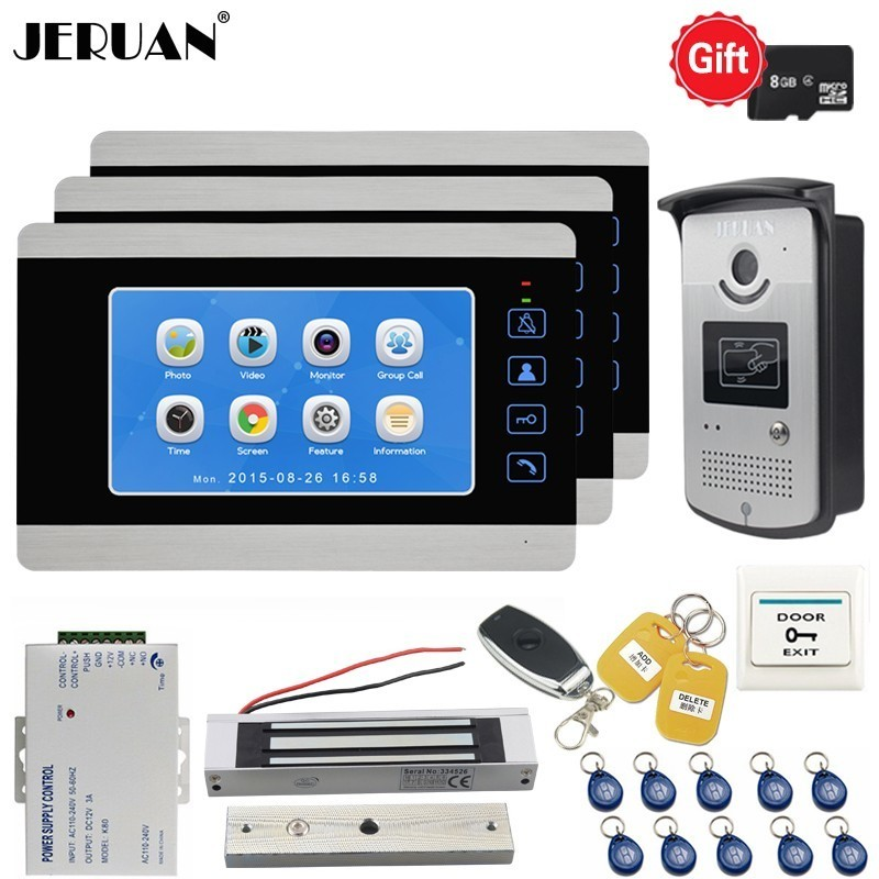 JERUAN 7 Inch LCD Video Doorbell Door phone Voice/Video Recording Intercom System kit With 3 Monitors Metal RFID Access Camera free shipping 7 video intercom apartment door phone 3 monitors system outdoor camera for 3 family metal rfid access system