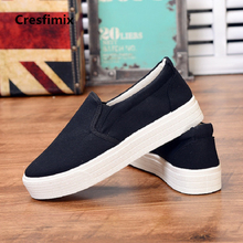 Cresfimix women fashion spring & summer slip on black canvas shoes lady classic white flat platform shoes zapatos de mujer a2193