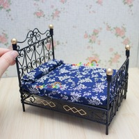 Dolls House Metal Bed Princess Double Bed Bedroom Furniture 1:12 Dollhouse Miniatures Black