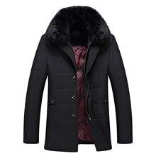 2017men Parka Zipper Cotton Padded Coat Winter Men Coat Fuax Fur Collar Coat Jacket