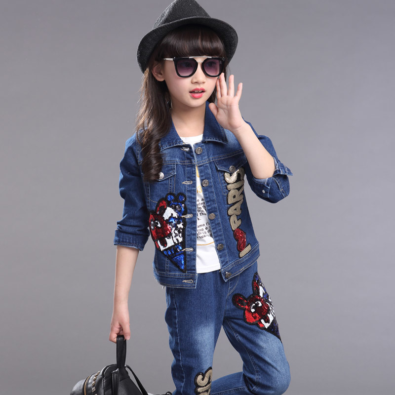ФОТО Fashion Girl Clothes Set Blue Jeans Jacket Trousers Set Paillette Sequin Decorated Korean Kids Clothes Casual Girls Spring Wear