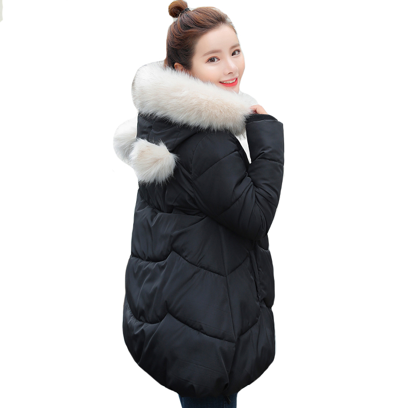 2019 Winter Jacket Women With Fur Hooded Sweet Student outwear   Down     Coat   Long Cotton Padded Parka Abrigos Mujer Invierno