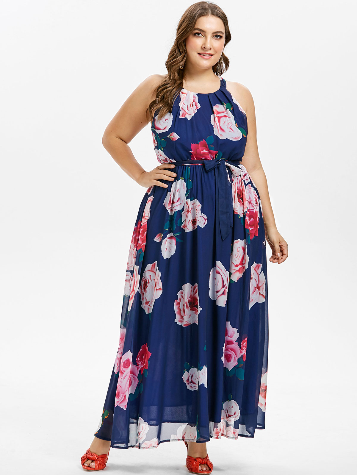 8bff76634d5 Wipalo Casual Plus Size Belted Floral Print Maxi Dress Sleeveless O ...