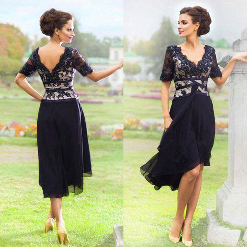 New Arrival Navy Blue 2017 Mother Of The Bride Dress Elegant Country With Half Sleeves V Neck Lace Formal Party Tea Length In