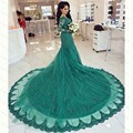 Dress Party Evening Elegant Long Sleeve Emerald Green Arabic Kaftan Evening Dubai Dress Court Train Vestido De Festa Longo