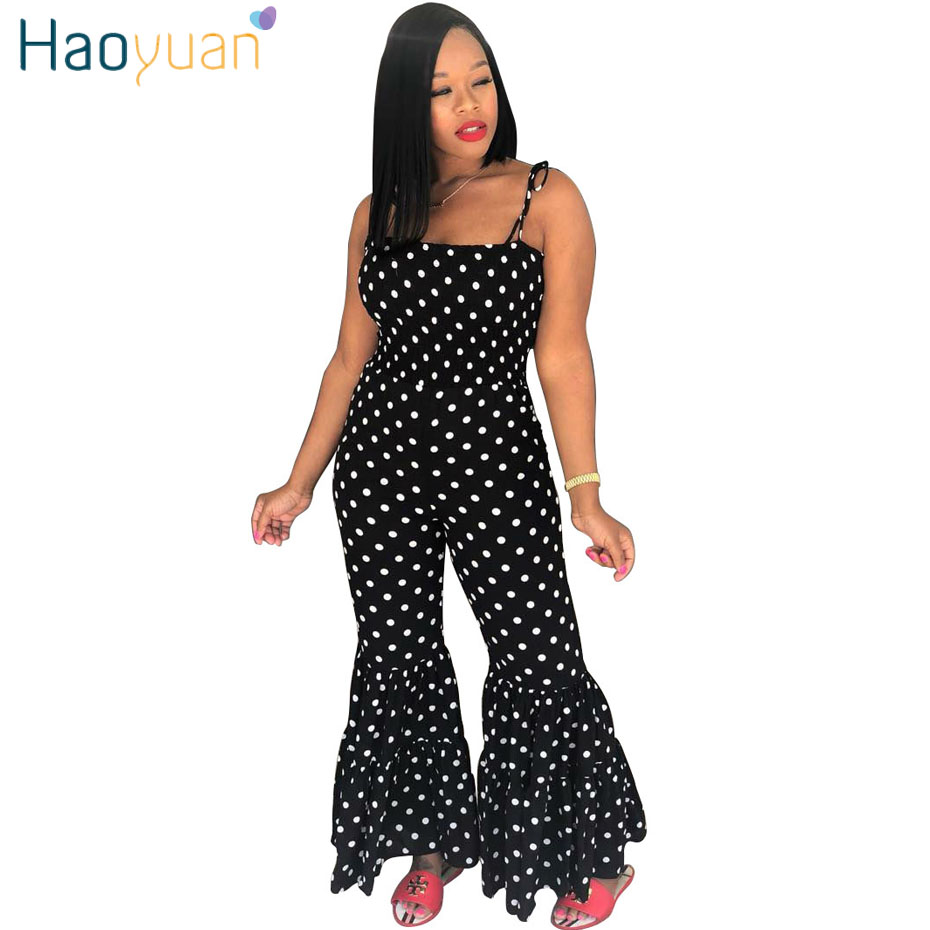 860edbb1403 HAOYUAN Sexy Jumpsuit Polka Dot Summer Overalls Spaghetti Strap Backless  Bodysuit One Piece Boot Cut Rompers Womens Jumpsuits
