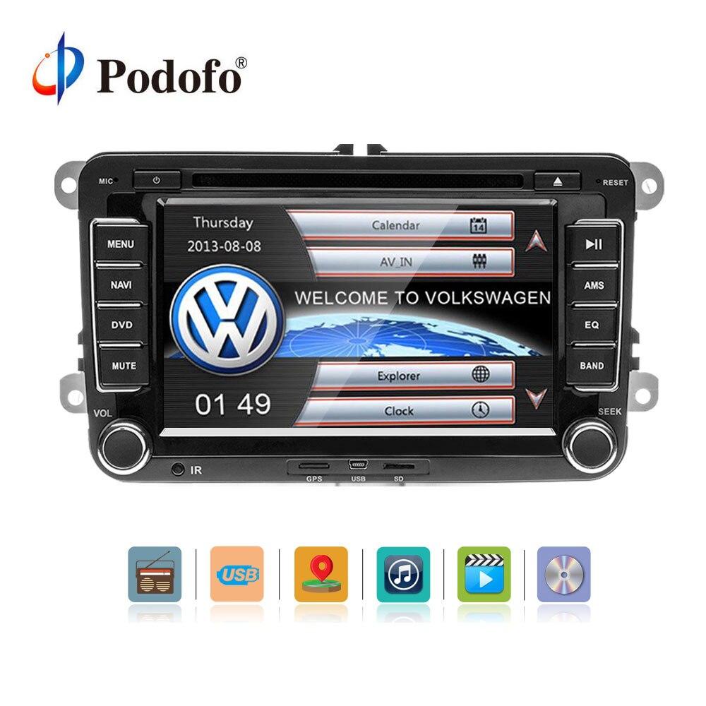 Podofo 2 DIN 7'' Car Multimedia Player Car DVD Player GPS Navigation Bluetooth Radio FM For Volkswagen VW Golf MattwayT6 Sharan цена