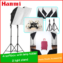 ФОТО photography  photo stuido soft box set light  flash softbox reflector material with lamps support feet lamp holder  for 4 lamps