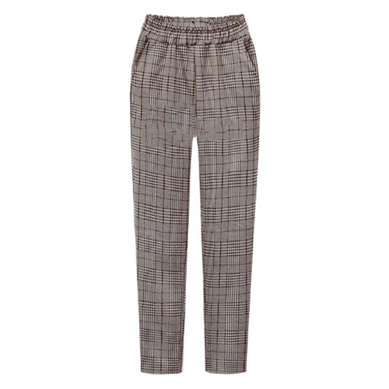 2019 Autumn European Style Women Plus Size 4XLTrousers Loose Anklet-Length Pants Casual Plaid Elastic Waist Female Brand Capris