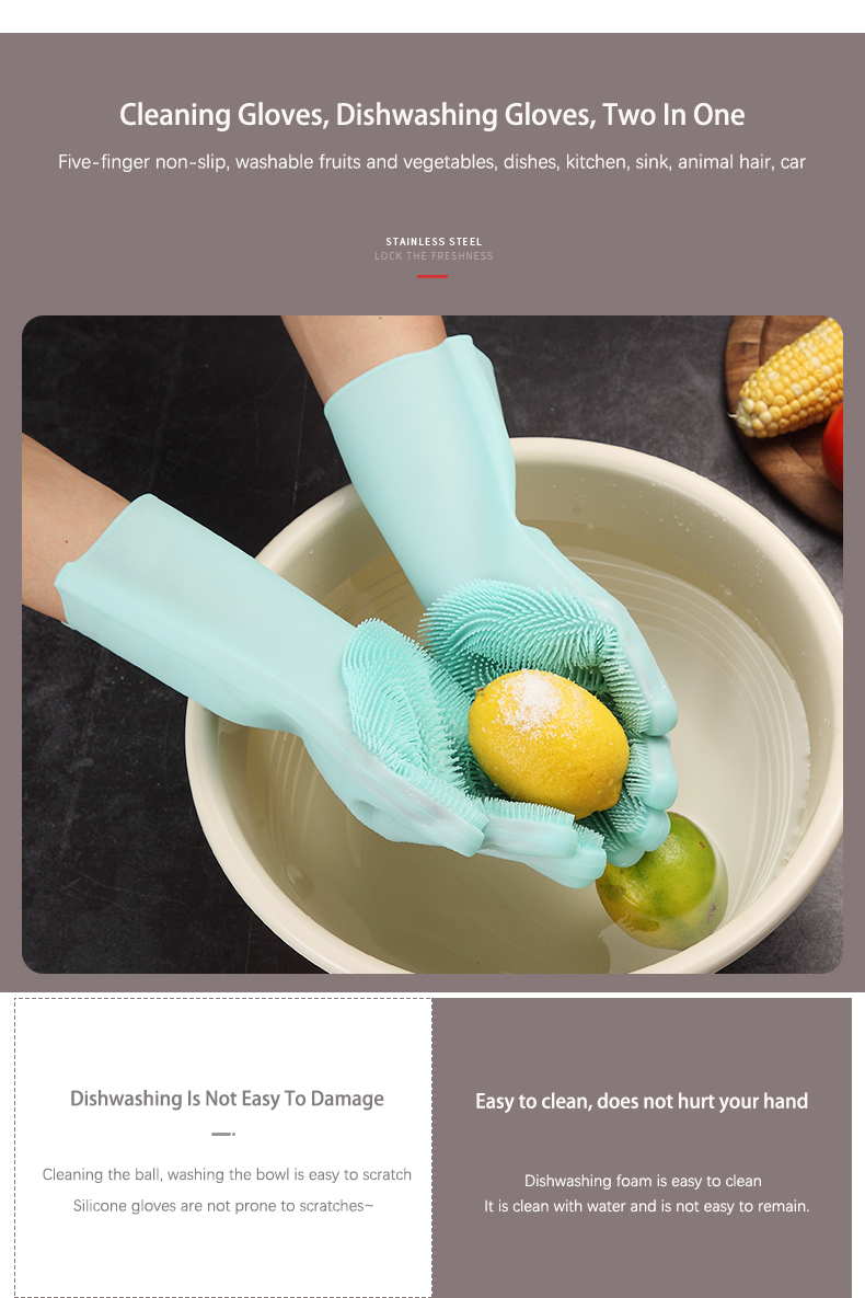 Multifunction Silicone Cleaning Gloves With Scrubber For Kitchen Household And Dish Washing 12