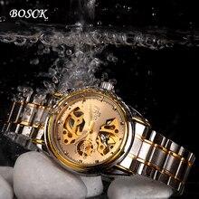 Automatique mécanique montre étanche homme, han édition hommes d'affaires de montre en acier inoxydable, célèbre marque BOSCK or watch668