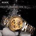 Homem mecânico automático assistir à prova d' água, edição han relógio de aço inoxidável dos homens de negócios, famosa marca bosck watch668 ouro