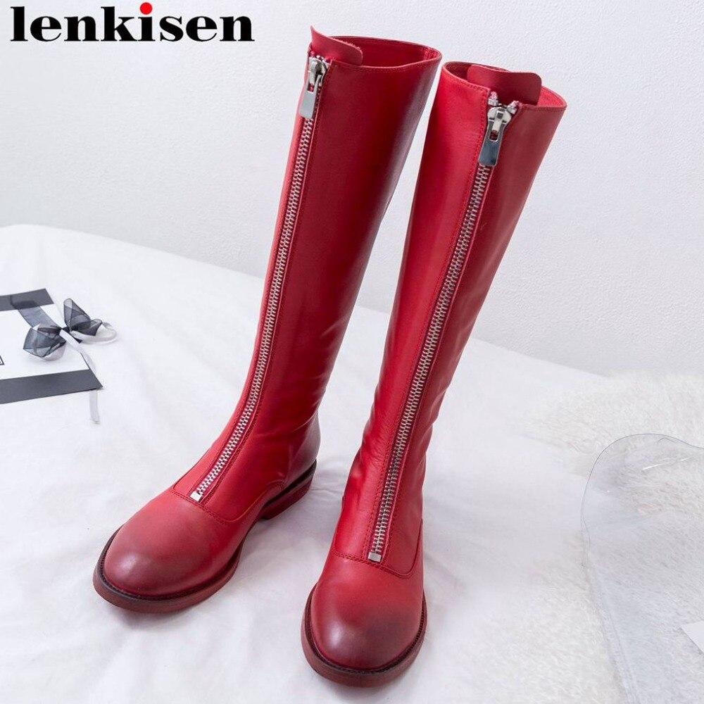 Lenkisen luxe souple pleine fleur leatehr bout rond carré bas talons métal zip grande taille rock style genou-haute bottes de moto L15