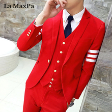 La MaxPa (jacket+pants+vest) Fashion model males go well with male go well with for wedding ceremony spring informal slim match groom occasion promenade costume go well with