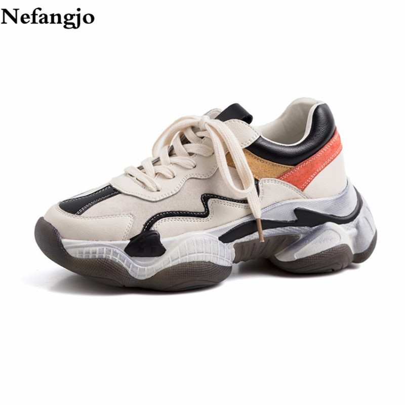 Nefangjo 2019 Spring Shoes Women Fashion Genuine Leather Lace up Street Style Women Shoes Casual Non Slip Breathable Sneakers