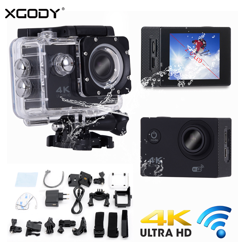XGODY H12 2 Waterproof Sport DVR Camera Ultra HD 4K Camcorder Action Dash Cam Wifi Remote Control 1080P 170 Degree Wide Angle