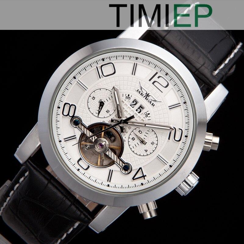 38c2d50664f Branco Tourbillon Calendário Mens Relógio Mecânico Automático 5 Mãos  relógios de Pulso