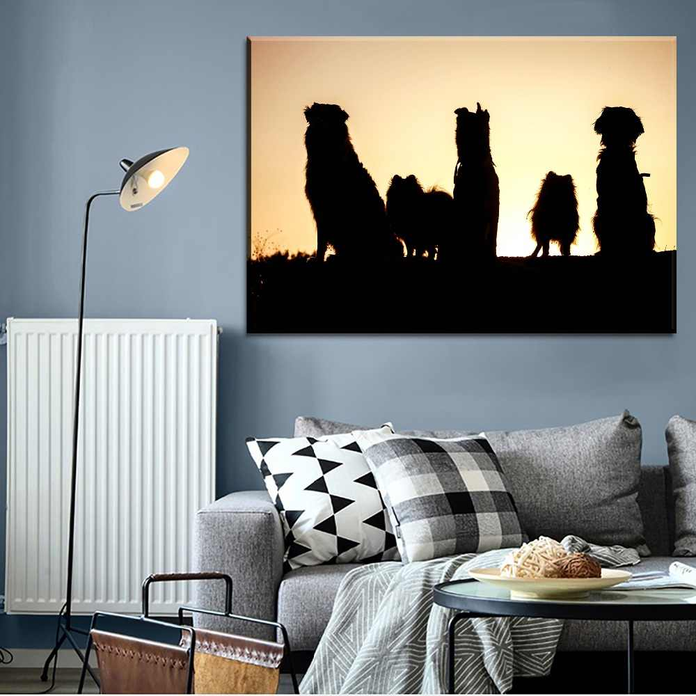 Home Decor Canvas Hd Printing Type Wall Art Pictures Framework 1 Piece Pet Dog Shadow Painting For Modern Living Room Artwork