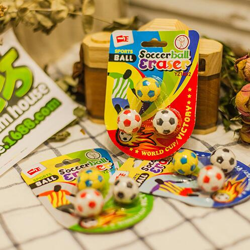 3 Pcs/pack Novelty Soccer Football Shape Eraser Rubber Eraser Primary Student Prizes Promotional Gift Stationery