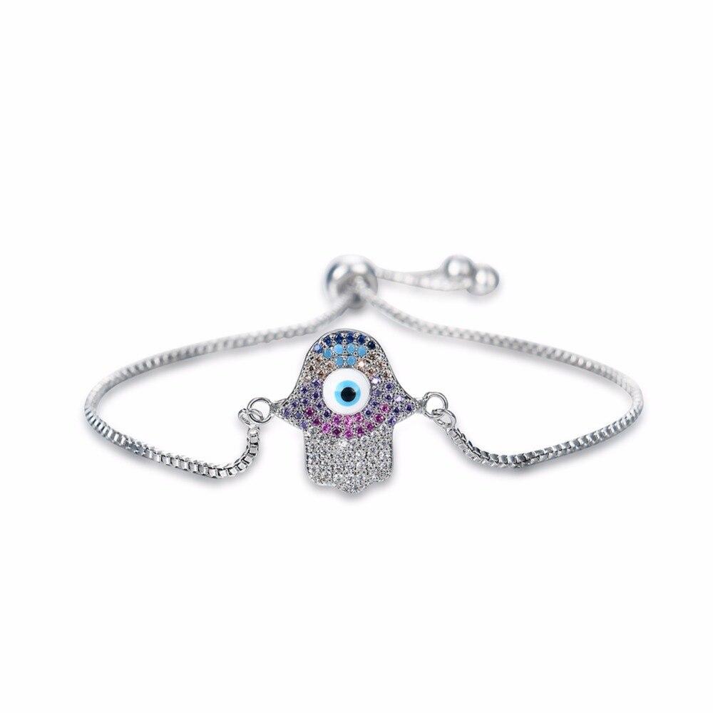 Turkish Simple Bracelet Turkey Evil Eye Stainless Steel AAA Zircon Women Fashion Jewelry Charm Bracelets Adjustable