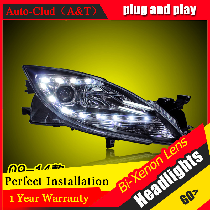 Car Styling For Mazda 6 led headlights 2009-2014 For Mazda 6 head lamp Angel eye led front light Bi-Xenon Lens xenon HID KIT electric car motorcycle 15w led headlights modification lens light 12 60v