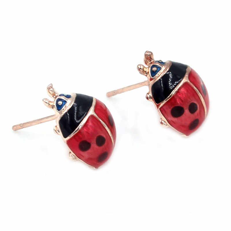 Creative  Insert Earrings Exquisite Paint Stud Earrings Red Oil Ladybug Ear Studs Earrings