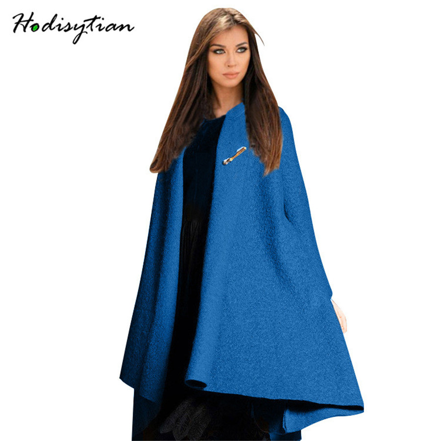 Hodisytian Winter Fashion Women Trench Coat Casual Loose Cardigan Thick Wool Blends Solid Cashmere Coat Padded Overcoat Jacquard