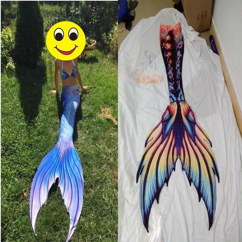 Fille Enfant/Enfant Adulte Femelle Homme Sirène Queue avec Monopalme Accessoires Photo D'été Plage Station Cospaly Costume Halloween robes