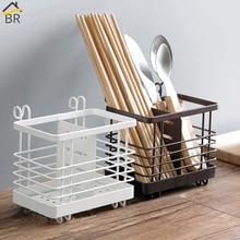 BR 2-Grid Detachable Forks Drainer Rack Stainless Iron Kitchen Storage Organizer Wall Mounted Fork Knife Holder Spoon Chopsticks